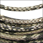 5mm Round Python leather per inch - Natural Grey
