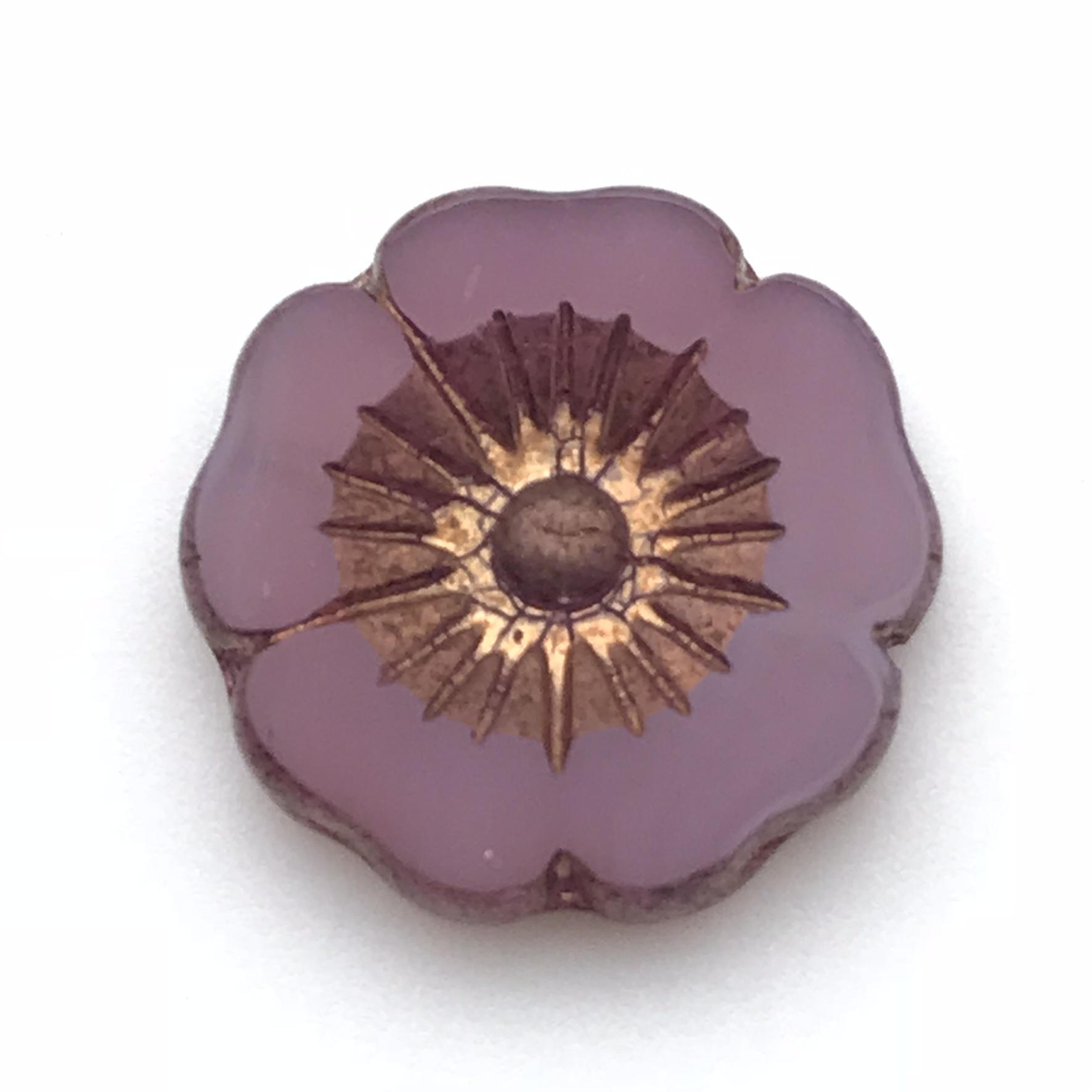 Hibiscus flower pink opaline with bronze 22mm izmirmasajfo