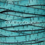 Flat Leather BARK 10mm - per inch TURQUOISE