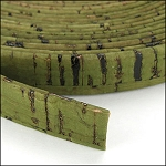Cork 10mm Flat Leather per YARD Olive Green - ONLY 1 LEFT
