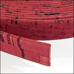 Cork 10mm Flat Leather per YARD Red - ONLY 1 LEFT