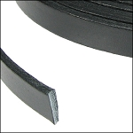 Flat Leather 5mm - per inch Black