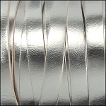 Metallic Flat Leather 10mm - per yard Bright Silver