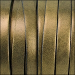 Metallic Flat Leather 10mm - per yard Ant. Gold