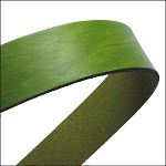 Flat Leather 20mm - per inch Olive Green