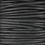 3mm round Indian leather - black  - per 4 feet