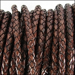 5MM ROUND BRAIDED EURO LEATHER PER INCH Distressed Brown