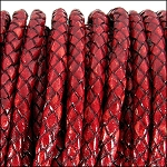 5MM ROUND BRAIDED EURO LEATHER PER INCH Red