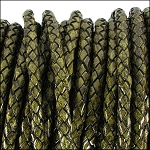 5MM ROUND BRAIDED EURO LEATHER PER INCH Distressed Green