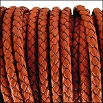 5MM ROUND BRAIDED EURO LEATHER PER INCH Rust