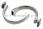 5mm flat CUFF DISC clasp ANT SILVER (flat leather)