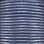 Metallic 2mm Leather Spool Blue
