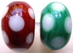 Christmas Dots Glass Lampwork Beads