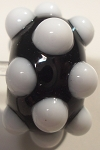 Bumps - White on Black Glass Lampwork Beads