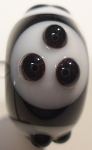 Triple Dots - Black and White Glass Lampwork Beads