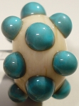Bumps - Turquoise on Ivory Glass Lampwork Beads