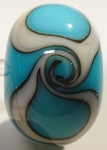 Wave - Turquoise on White Glass Lampwork Beads