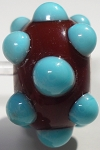 Bumps - Turquoise on Brown Glass Lampwork Beads