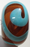 Swirl - Turquoise and Brown Glass Lampwork Beads