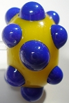 Bumps - Lapis Blue on Yellow Glass Lampwork Beads