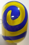 Swirl - Lapis Blue on Yellow Glass Lampwork Beads