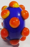 Bumps - Orange on Lapis Blue Glass Lampwork Beads