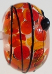 Black Stringer - Red Frit Glass Lampwork Beads