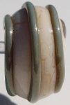 Striped - Copper Green on Ivory Glass Lampwork Beads