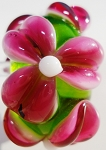 Pink on Grass Green Glass Lampwork Beads