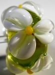 White on Green Apple Glass Lampwork Beads