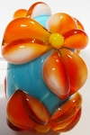 Orange on Turquoise Glass Lampwork Beads