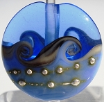 Medium Blue Wave Glass Lampwork Beads