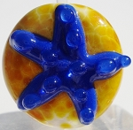 Ink Blue Starfish Glass Lampwork Beads