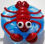 Lobster on Ocean Glass Lampwork Beads
