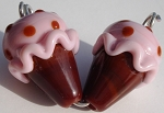 Ice Cream - Cherry Glass Lampwork Beads