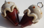 Ice Cream - Toasted Coconut Glass Lampwork Beads