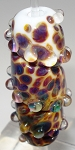 White and Raku Frit Twister Glass Lampwork Beads