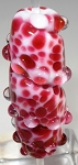 White & Red Frit Twister Glass Lampwork Beads