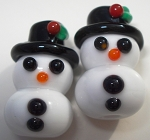 Snowmen Babies Glass Lampwork Beads