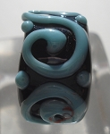 Raised Swirl Glass Lampwork Bead - Black and Turquoise