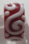 Raised Swirl Glass Lampwork Bead - Red and White
