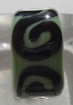 Swirl Glass Lampwork Bead  - Black and Sage