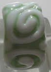 Raised Swirl Glass Lampwork Bead - Mint Green and White