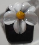 Daisy on Black Glass Lampwork Bead