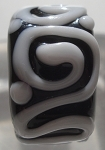 Raised Swirl - Black and White Glass Lampwork Bead