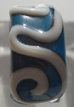 Raised Swirl - Turquoise and Ivory Glass Lampwork Bead