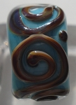 Raised Swirl - Turquoise and Brown Glass Lampwork Bead