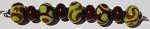 Brown and Lime Glass Lampwork Beads