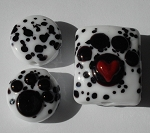 Dalmation Paw Beads Glass Lampwork Beads