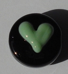 Heart - Seafoam Green on Black Glass Lampwork Beads